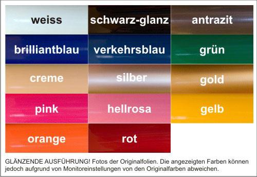 Zur Verfügung stehende Farben